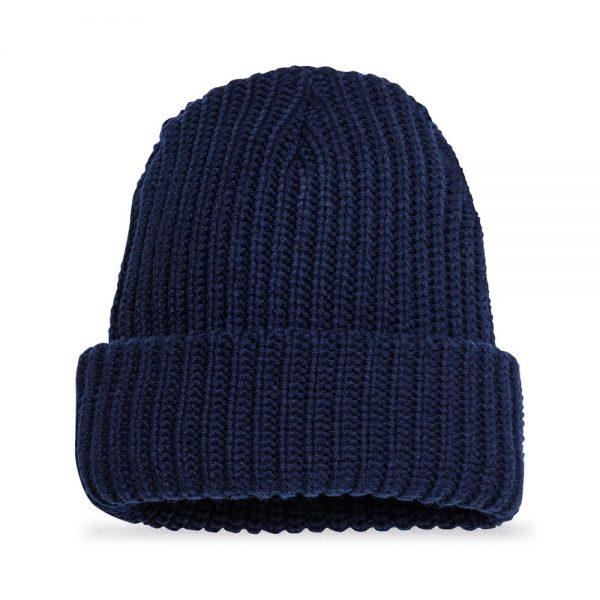 Back view of Elevate Coffee chunky knit beanie