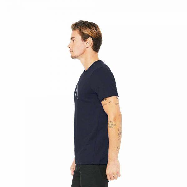 Left view of Elevate Coffee crew neck shirt