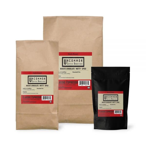 Classic Espresso coffee bags in 12 oz., 2 lbs. and 5 lbs.