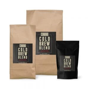 Cold Brew Blend coffee bags in 12 oz., 2 lbs. and 5 lbs.