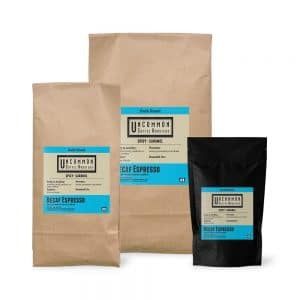 Decaf Espresso coffee bags in 12 oz., 2 lbs. and 5 lbs.