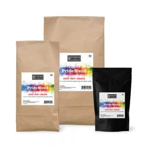 Pride Blend coffee bags in 12 oz., 2 lbs. and 5 lbs.