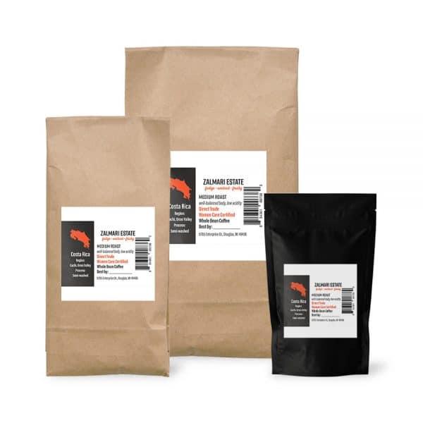 Zalmari Estate coffee bags in 12 oz., 2 lbs. and 5 lbs.