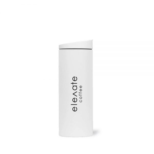 Front view of Elevate Coffee 16 oz. travel tumbler