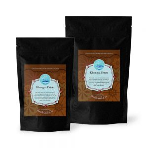 Bags of Khongea Estate black tea in 50g and 100g
