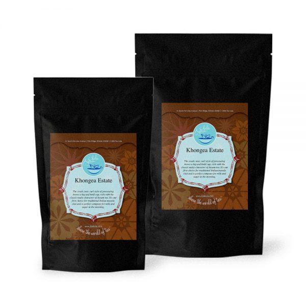 Bags of Khongea Estate black tea in 50g and 100g