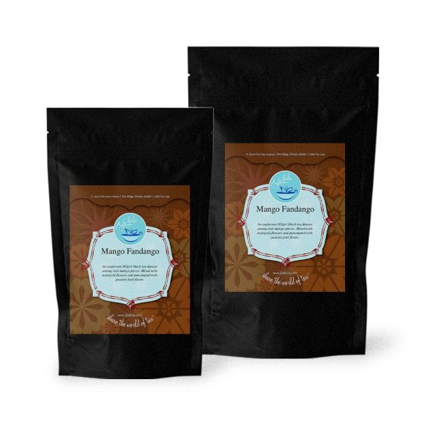 Bags of Mango Fandango black tea in 50g and 100g