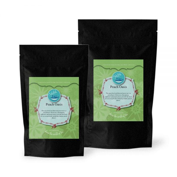 Bags of Peach Oasis green tea in 50g and 100g
